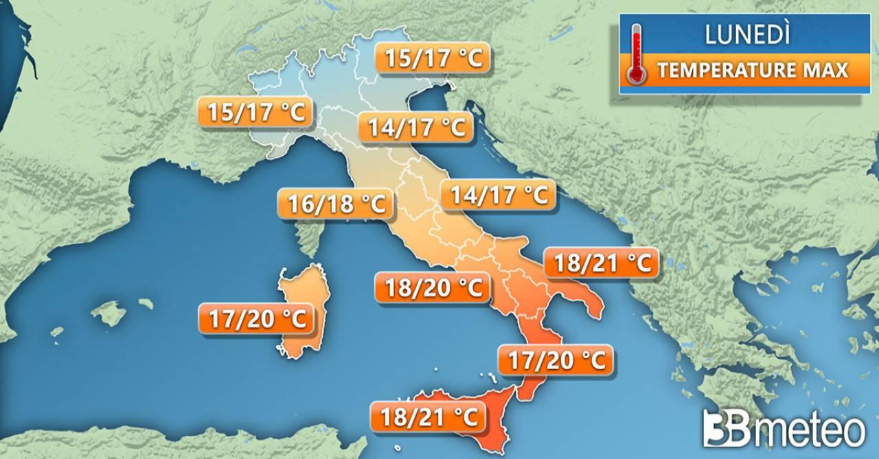 Temperature massime lunedì