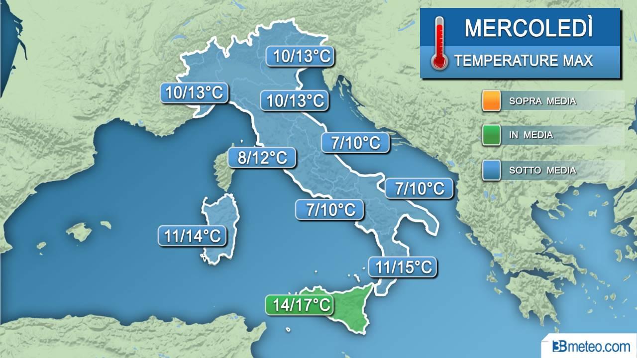 Temperature massime mercoledì