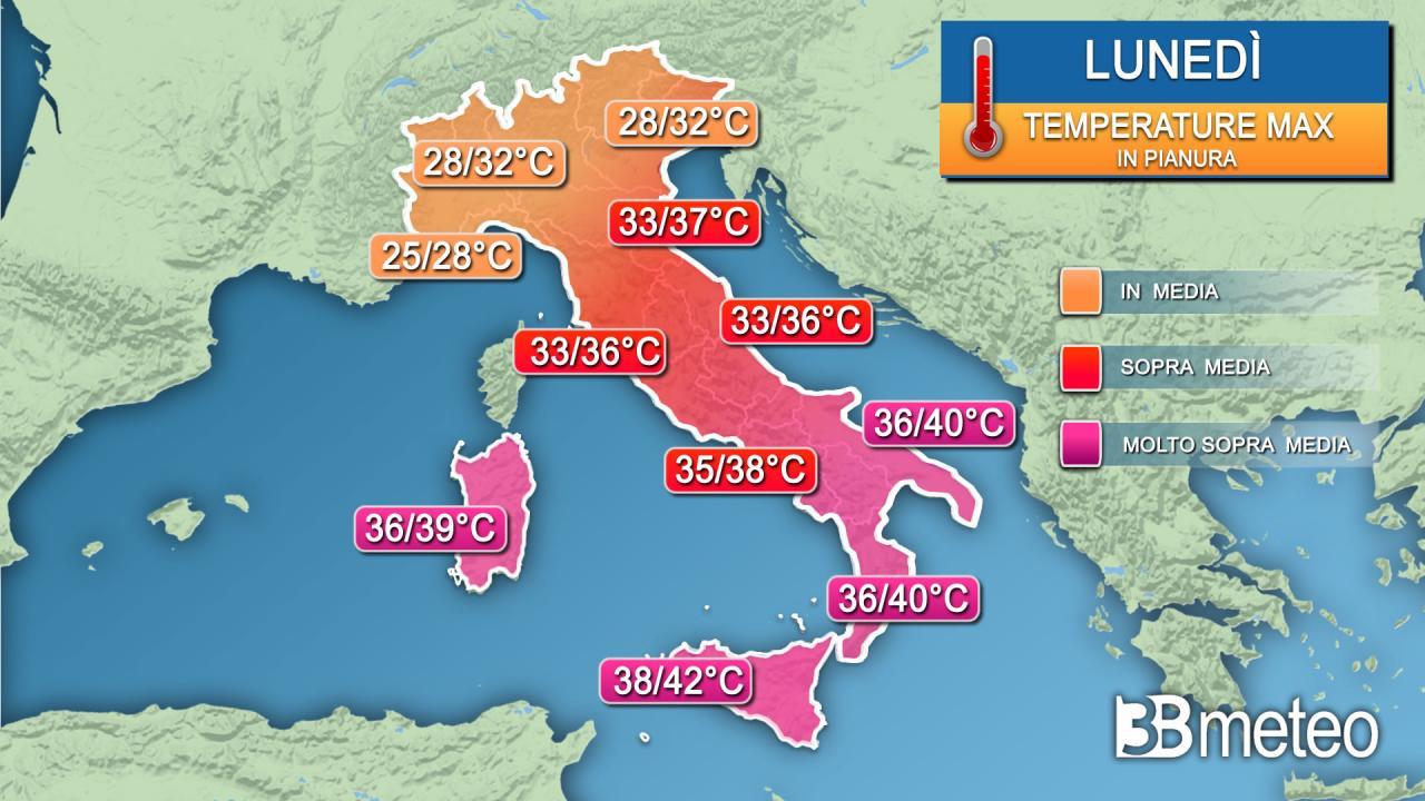 Temperature massime previste lunedì 9 agosto