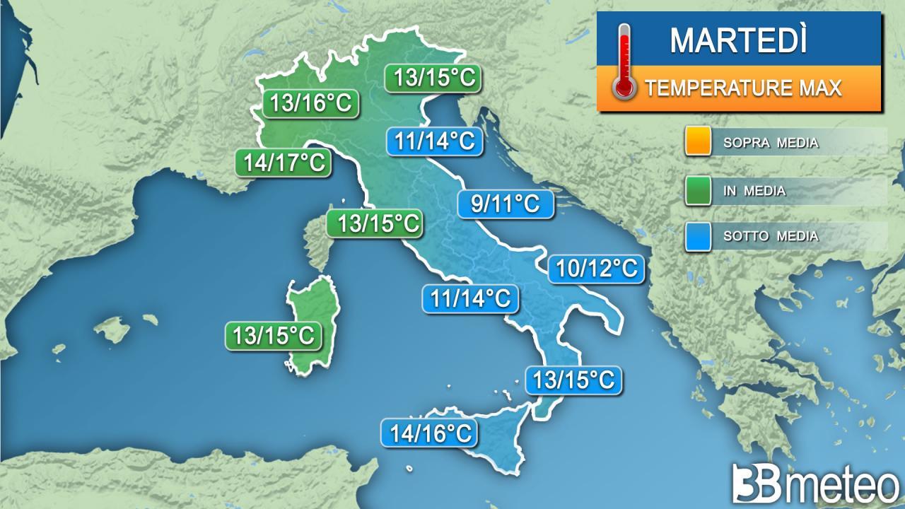 Temperature massime previste martedì