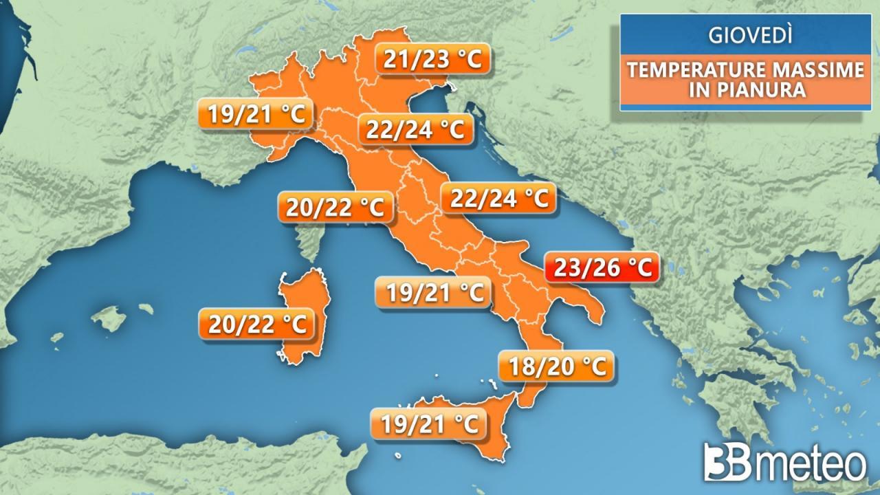Temperature massime previste per giovedì