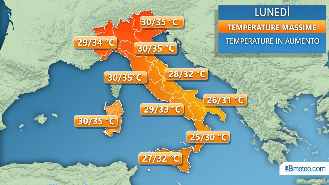 Temperature massime previste per lunedì