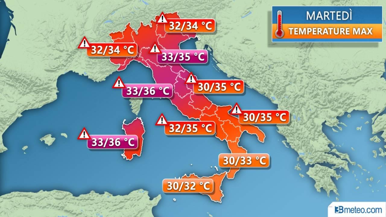Temperature massime previste per martedì