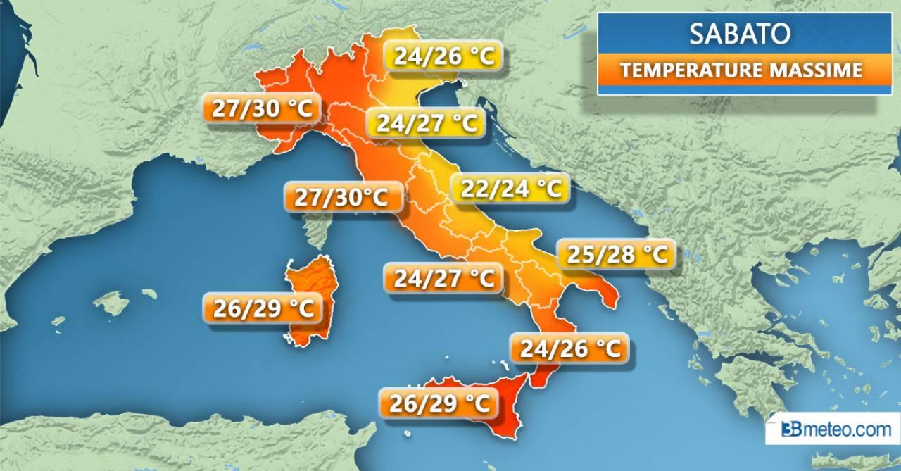 Temperature massime previste per sabato