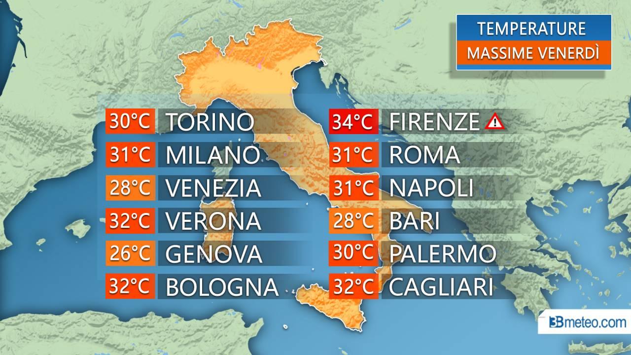 Temperature massime previste per venerdì