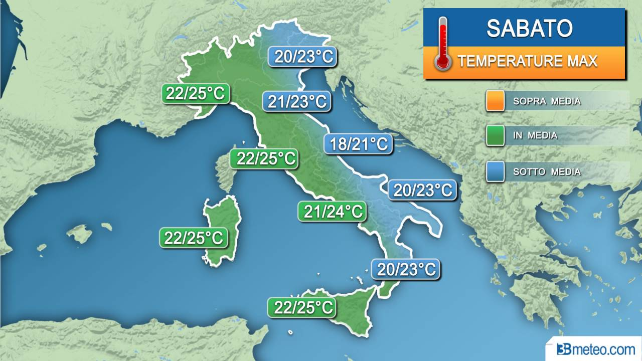 Temperature massime sabato