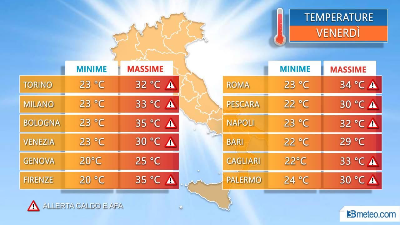 Temperature massime venerdì nelle principali città