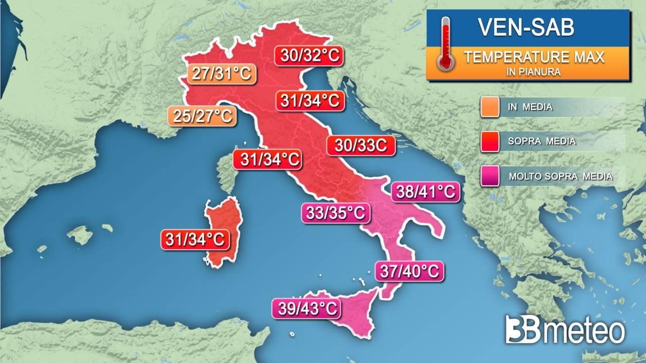 Temperature massime venerdì-sabato sull'Italia