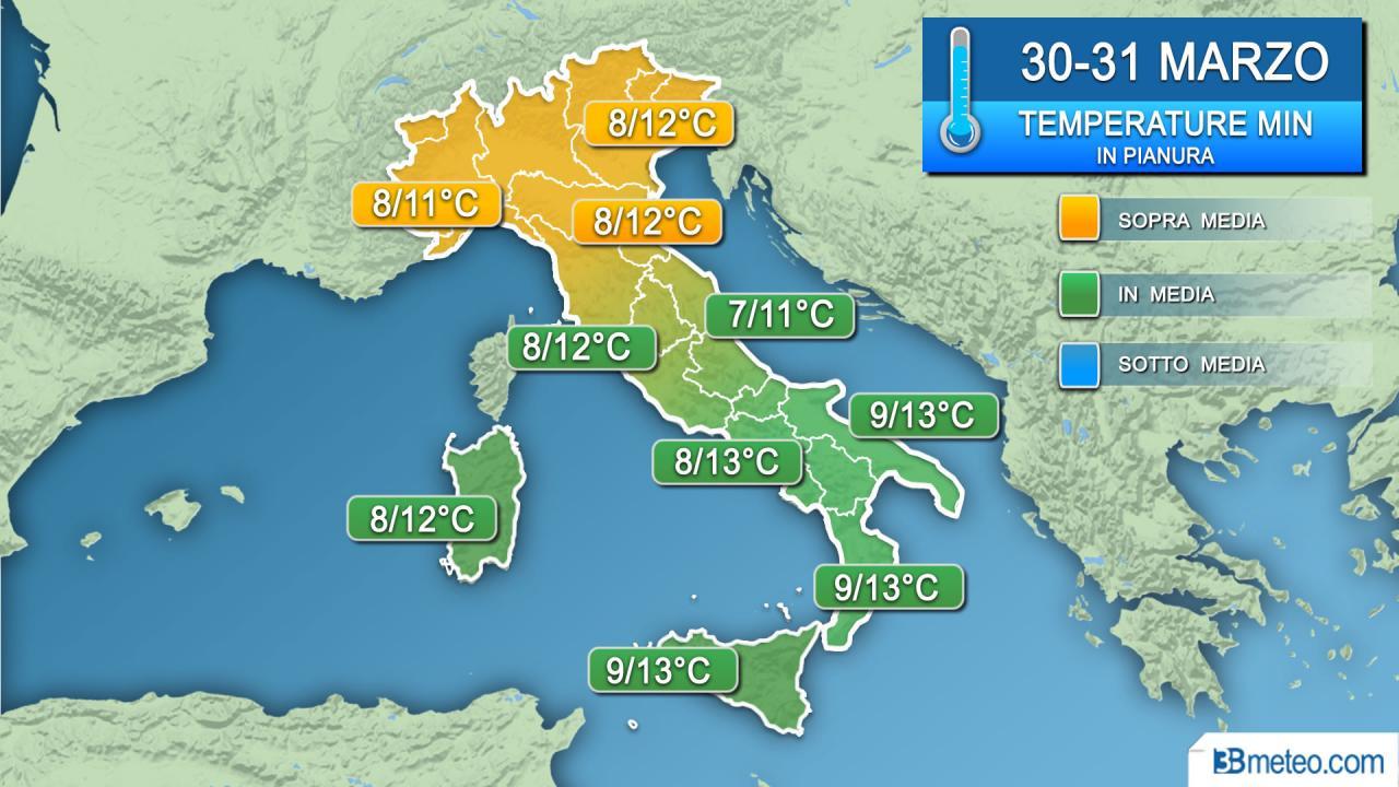 Temperature minime 30-31 marzo
