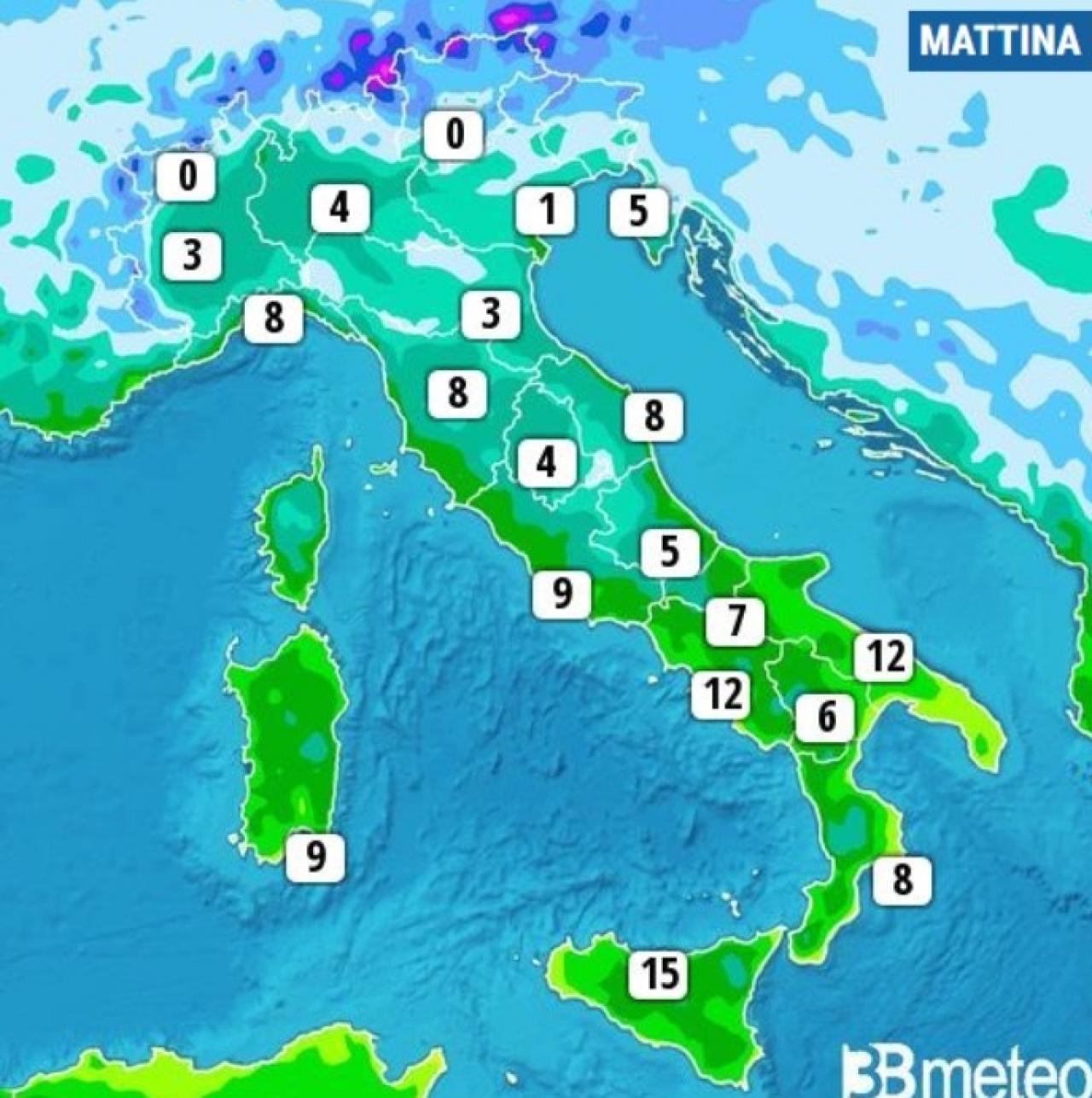 Temperature minime di lunedì