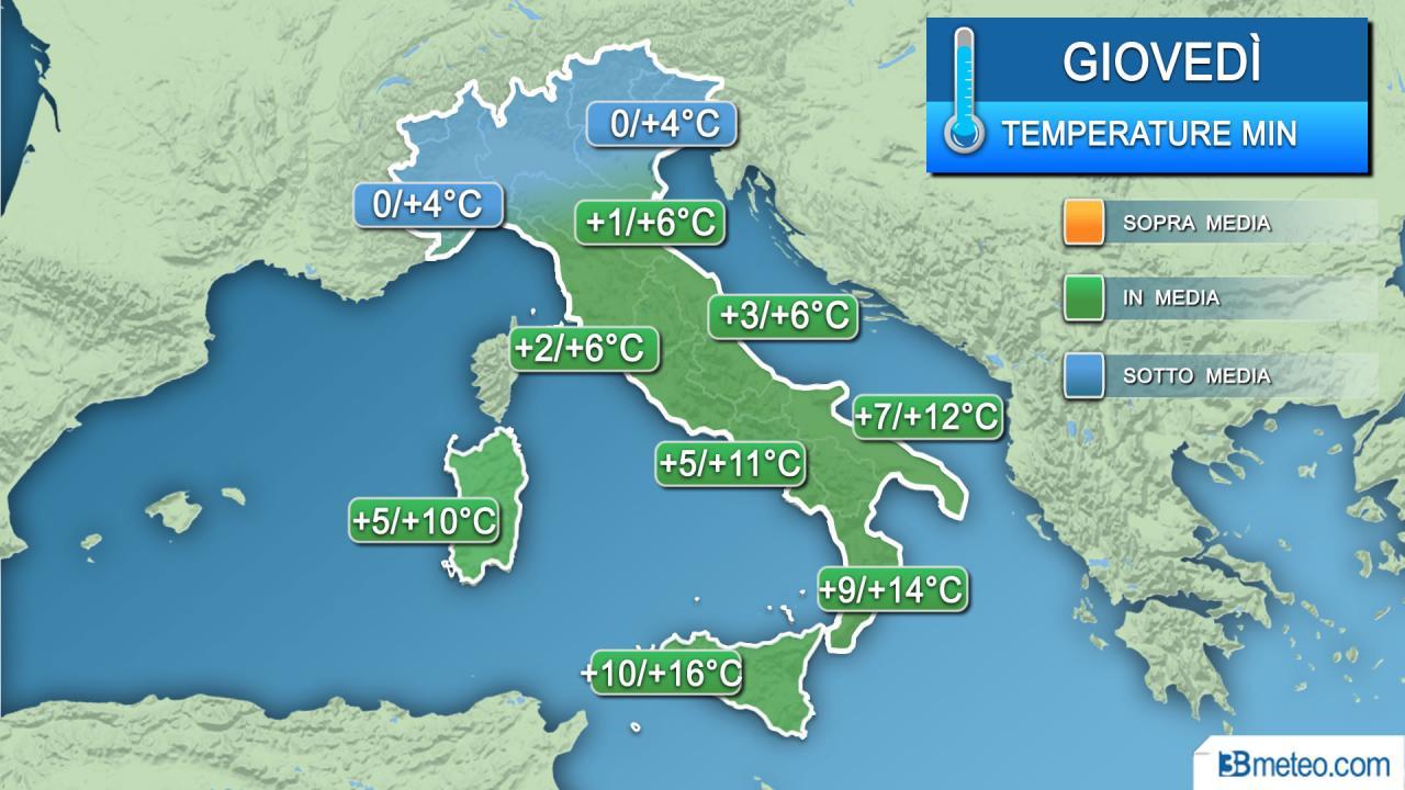 Temperature minime giovedì