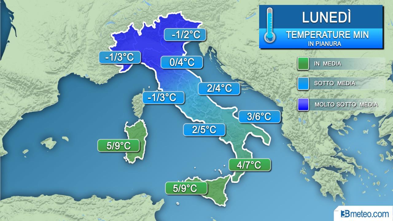 Temperature minime in pianura lunedì (all'alba)