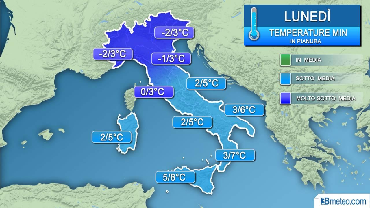 Temperature minime lunedì