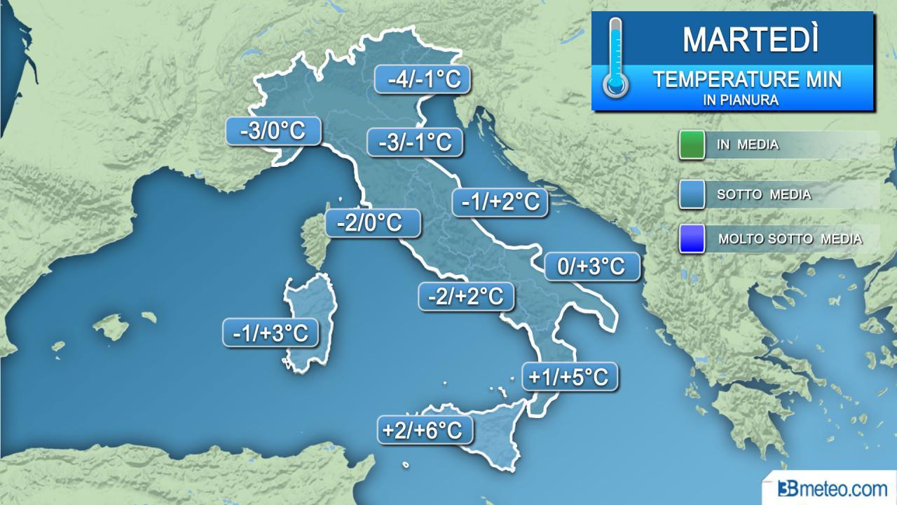 Temperature minime martedì (alba)