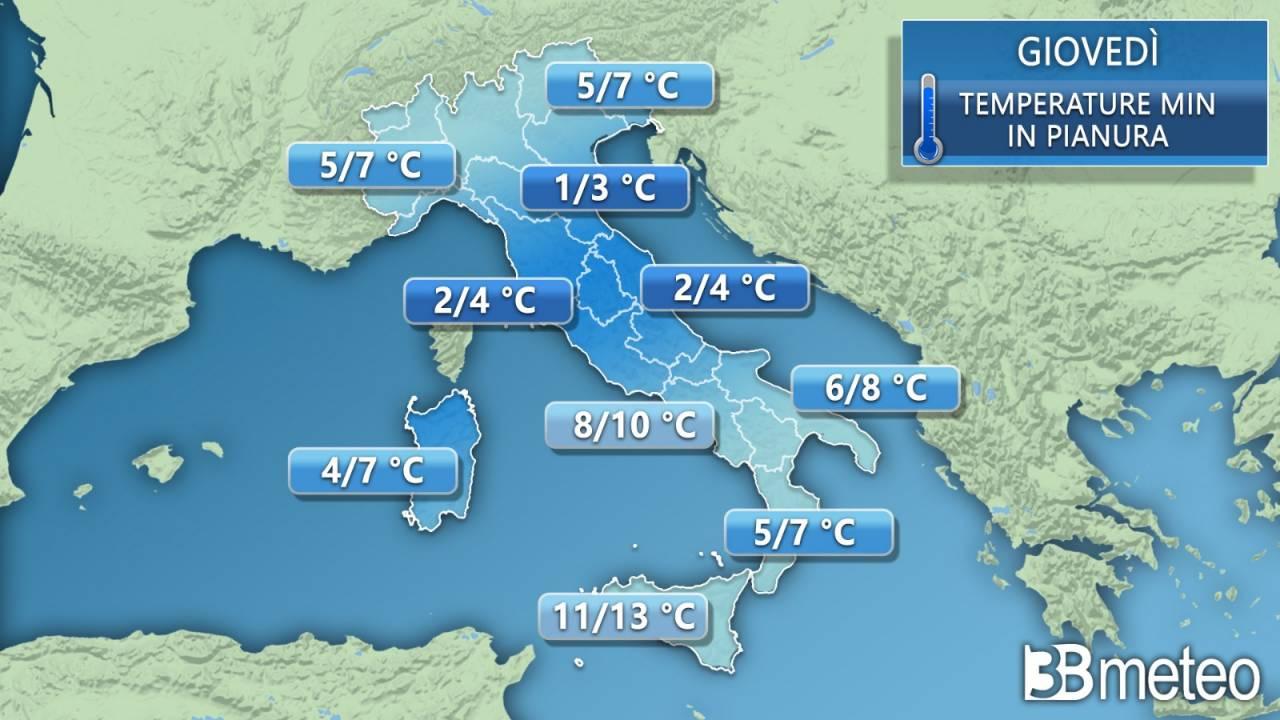Temperature minime previste per giovedì
