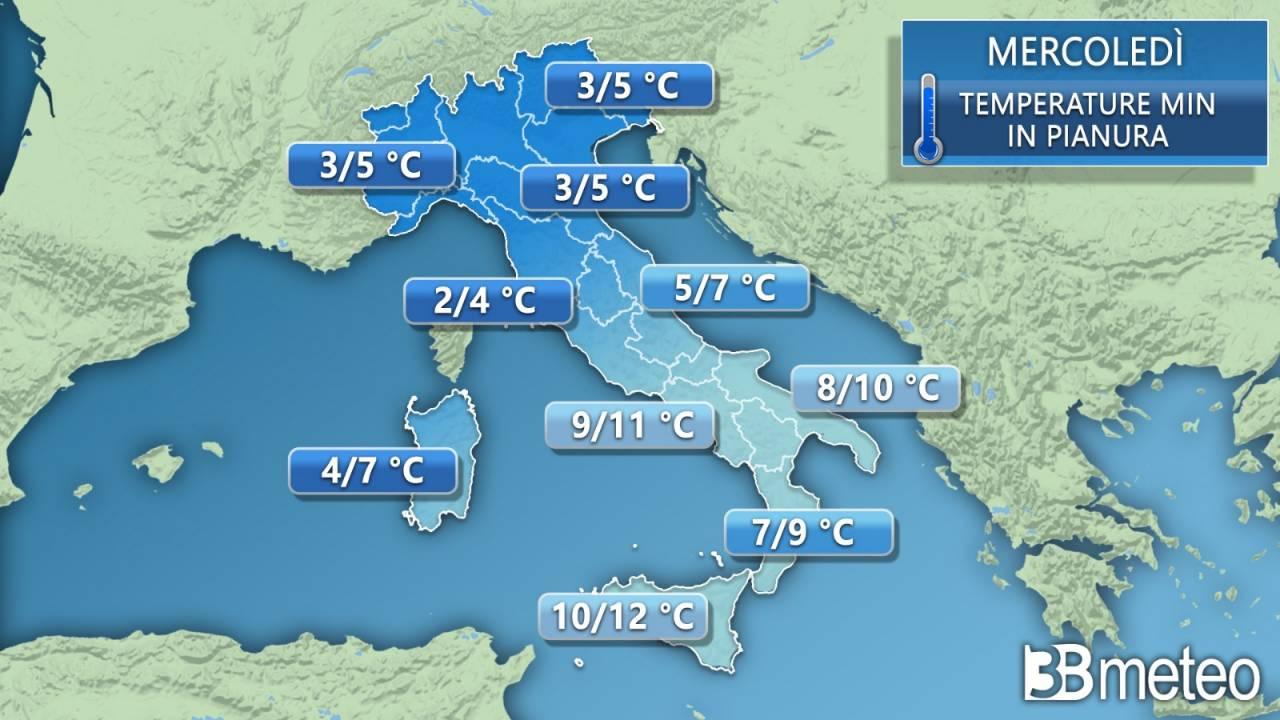 Temperature minime previste per mercoledì
