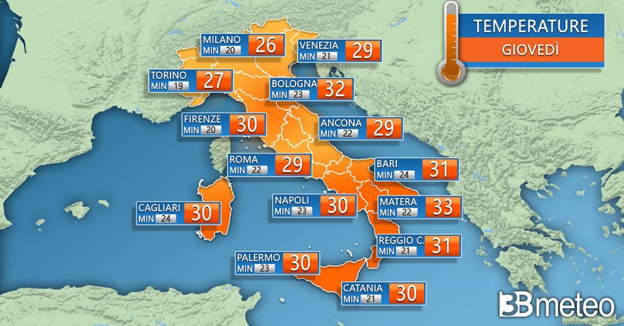 Temperature previste per giovedì