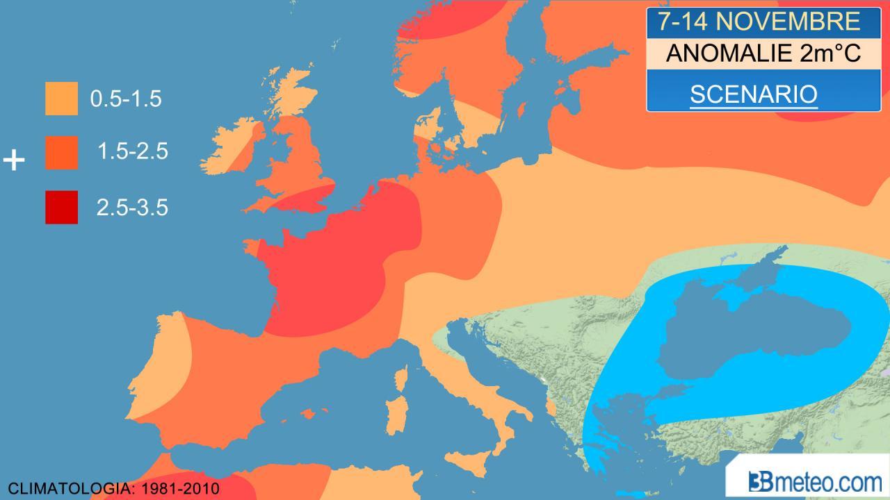 temperature sopra media in Europa