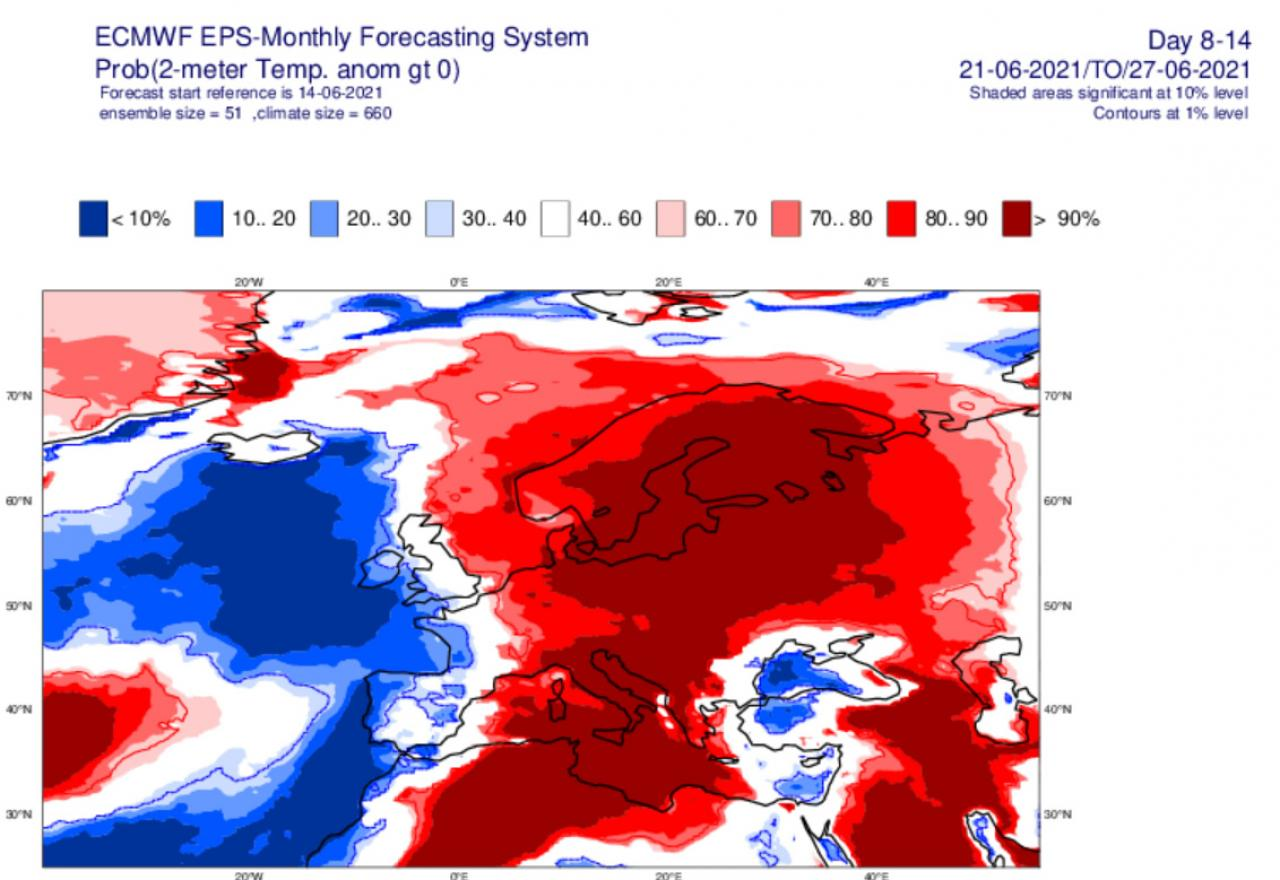 temperature sopra media in Europa secondo Ecmwf