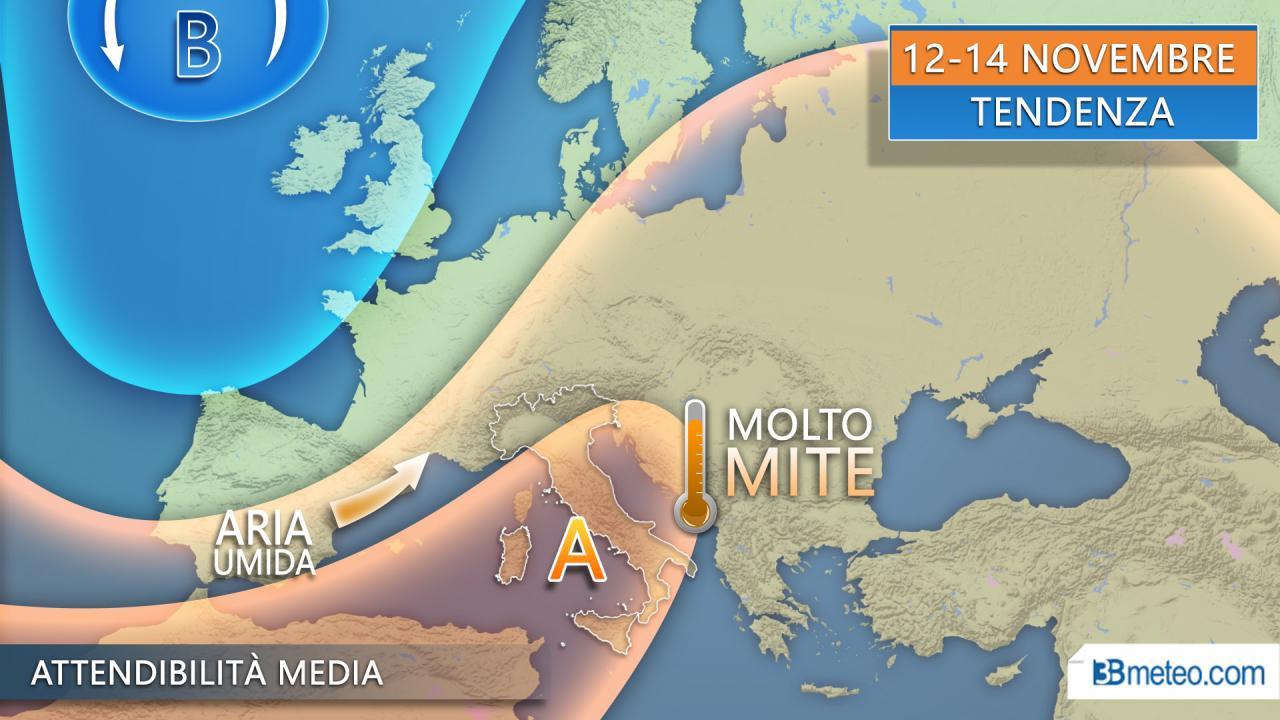 TENDENZA METEO: in arrivo l'ESTATE DI SAN MARTINO su parte d'Italia con alta pressione dal Nordafrica