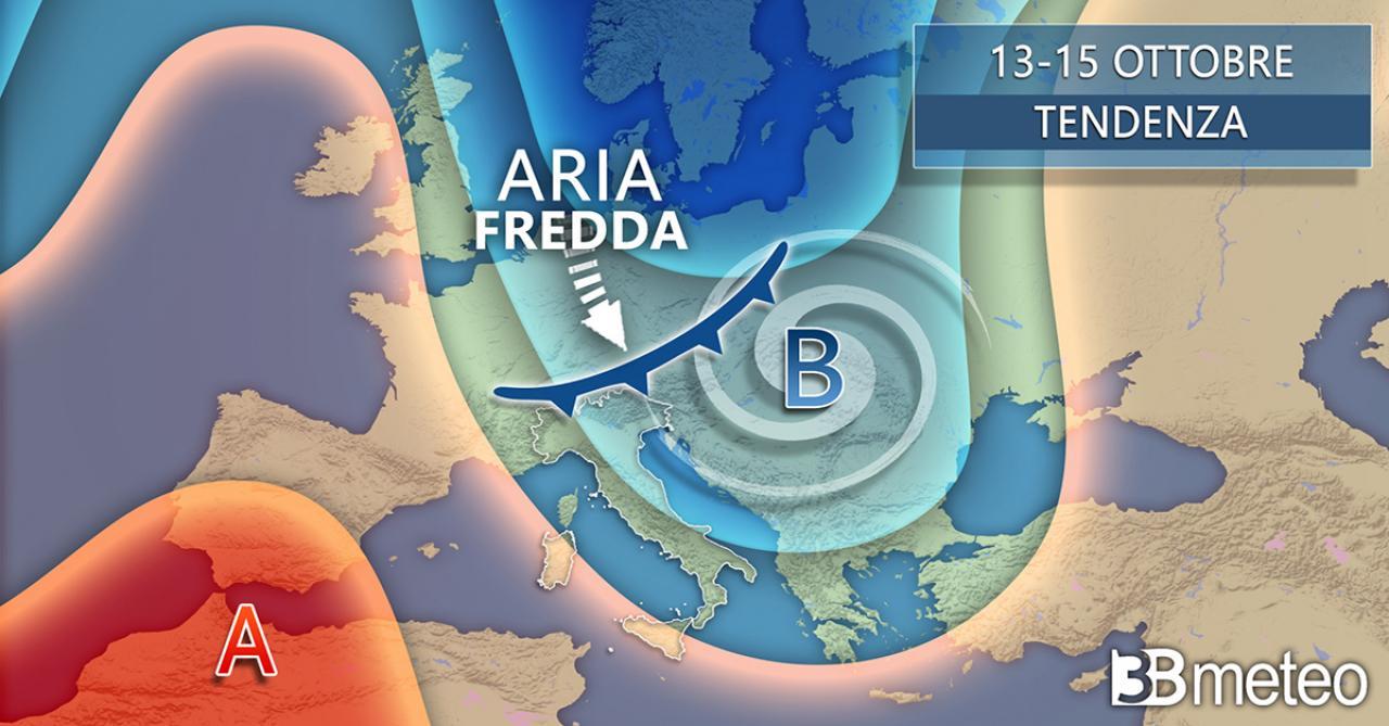 Tendenza meteo 13-15 ottobre - freddo in arrivo