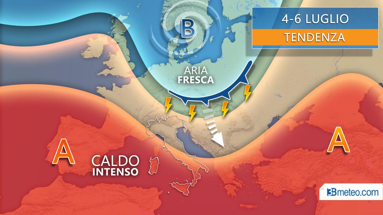 Tendenza meteo 4-6 luglio possibile break temporalesco