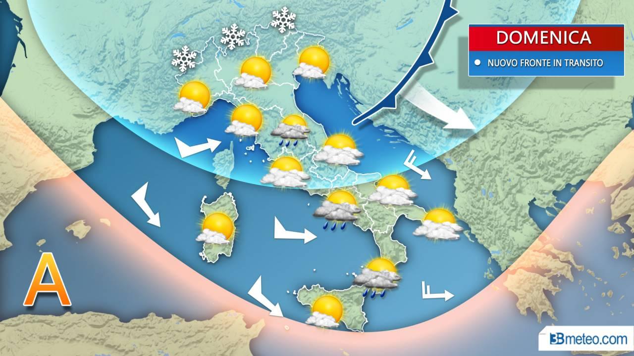 METEO DOMENICA, NEVE su Alpi confinali, TEMPORALI imminenti sul basso Tirreno