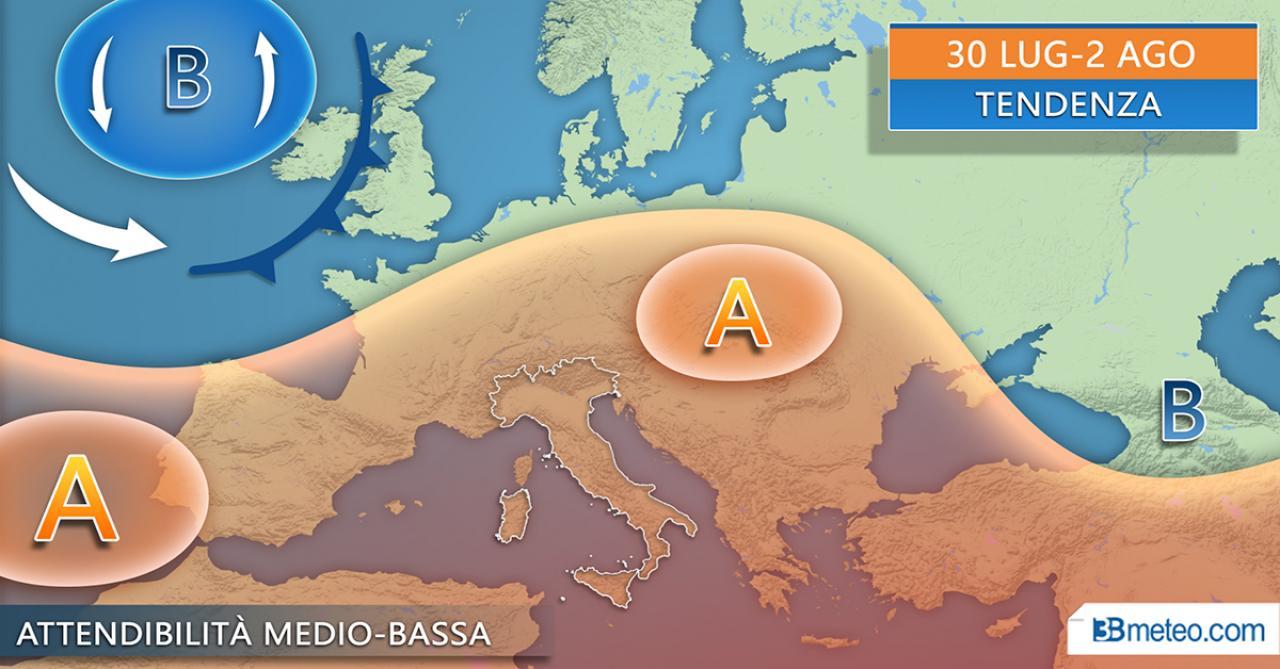 METEO ITALIA >> La tendenza attesa tra fine luglio e l'avvio di agosto