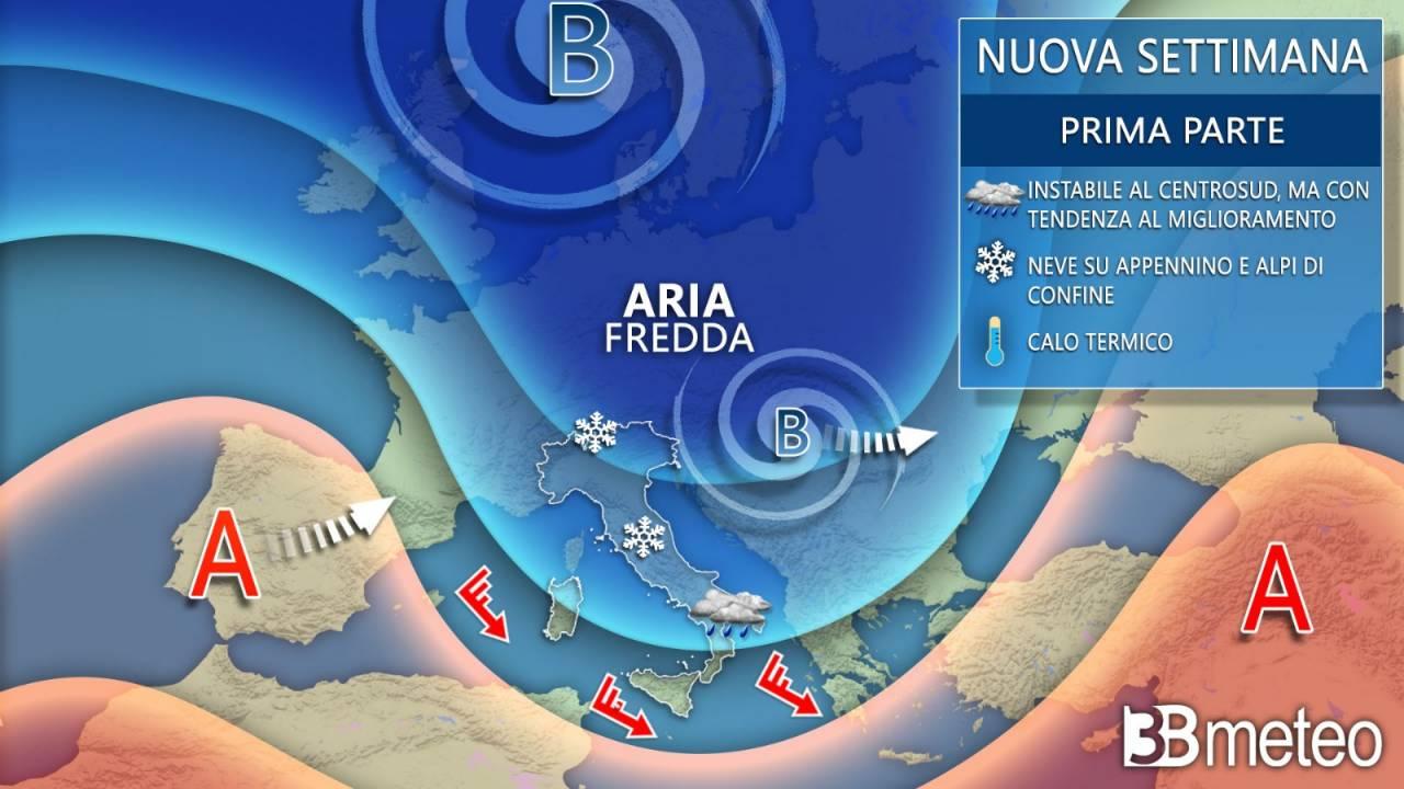 Meteo: piogge freddo e neve quote basse, ecco Italia da oggi a meta settimana