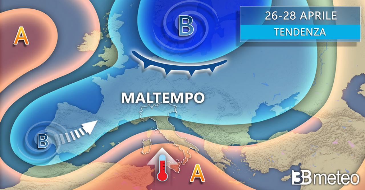 Tendenza meteo Italia lunedì 26 e martedì 27