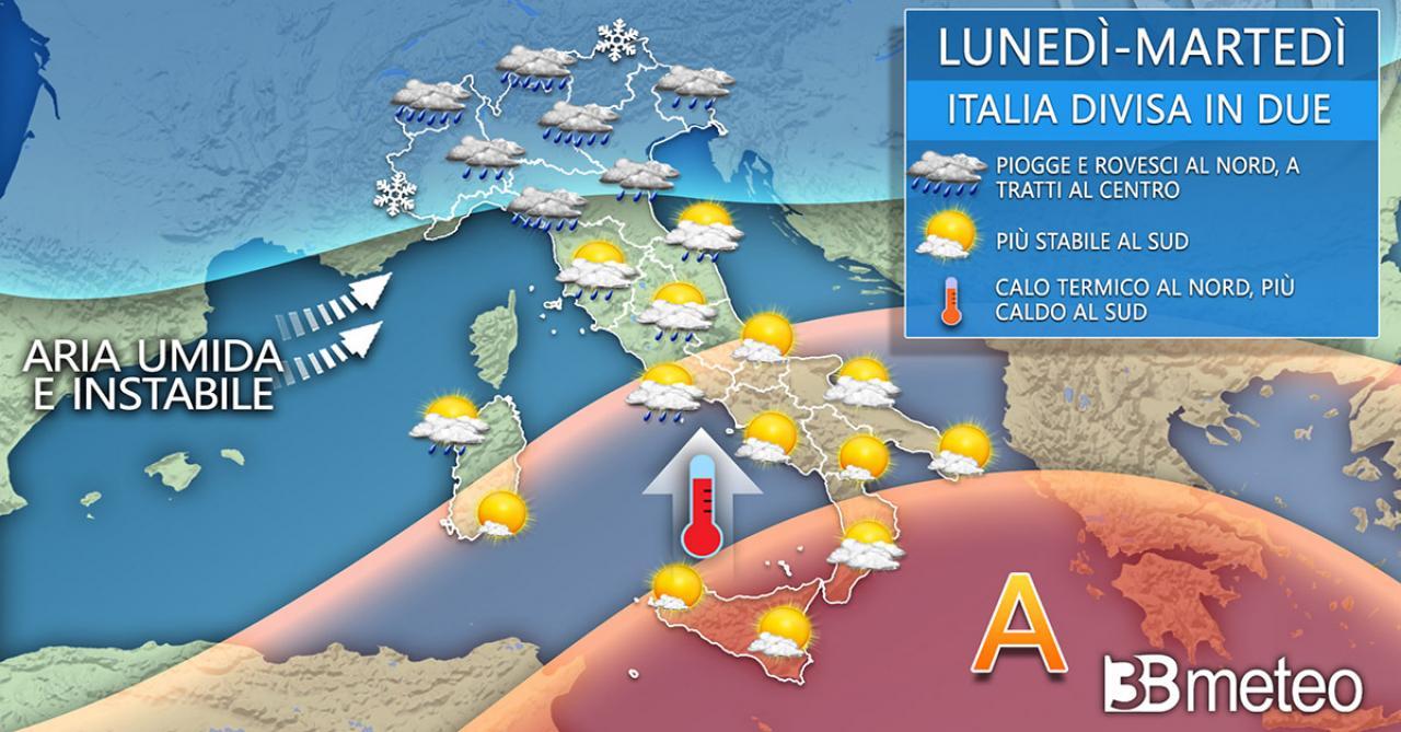 Andamento meteorologico in Italia lunedì 26 e martedì 27