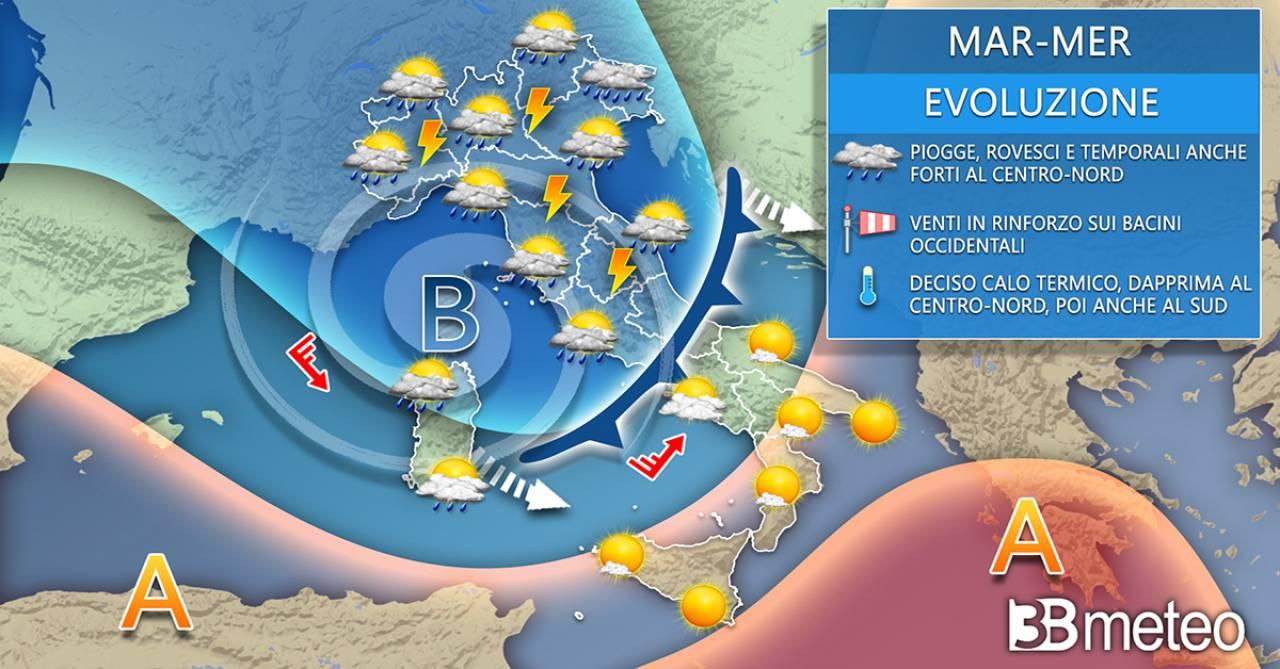 Tendenza meteo martedì/mercoledì