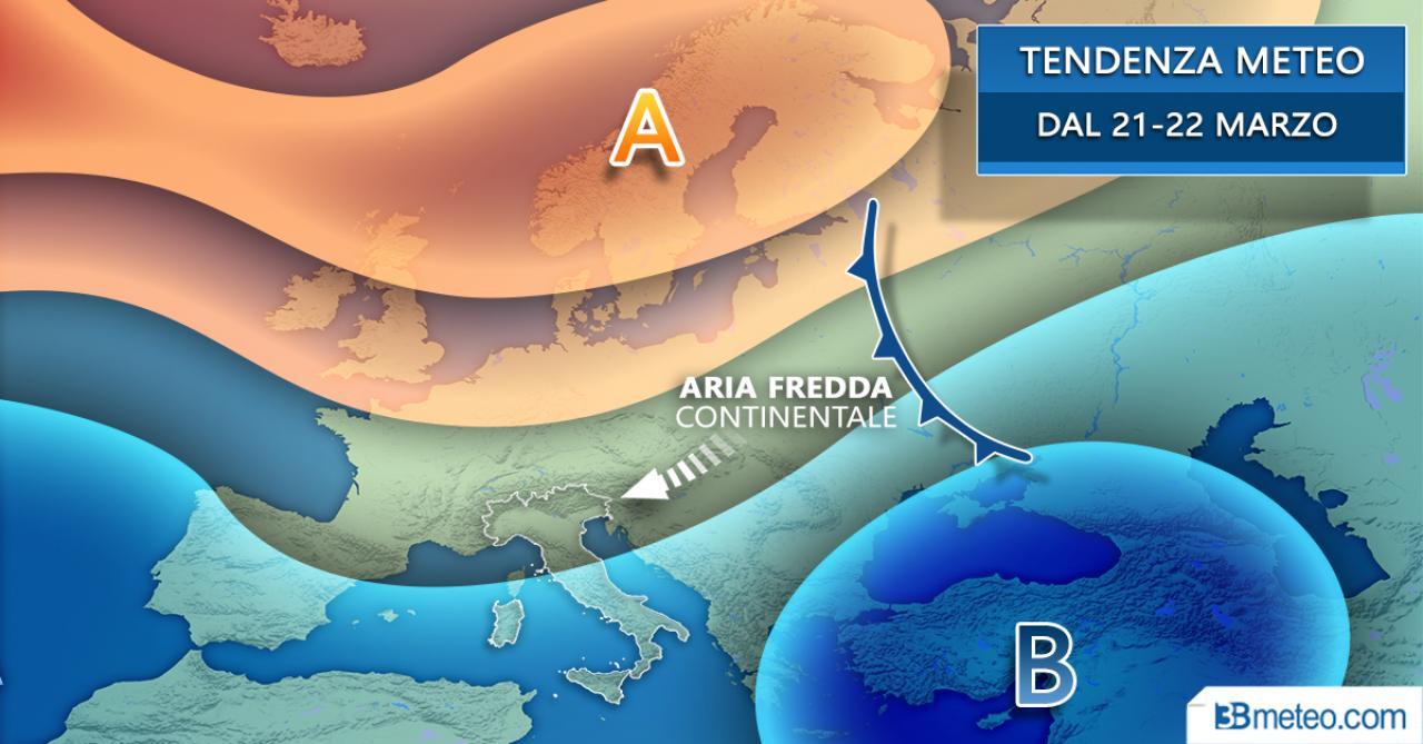 Tendenza meteo: proiezioni dal 20-21 marzo