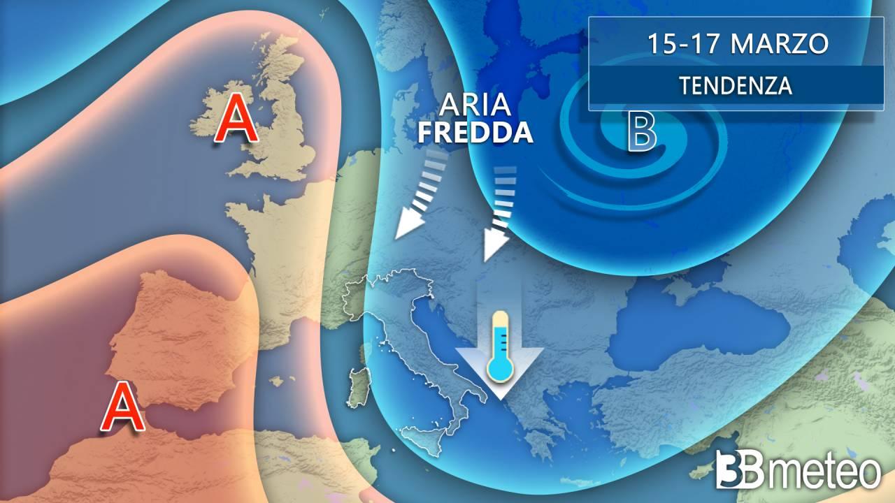 Tendenza meteo: proiezioni per il periodo 15-17 marzo