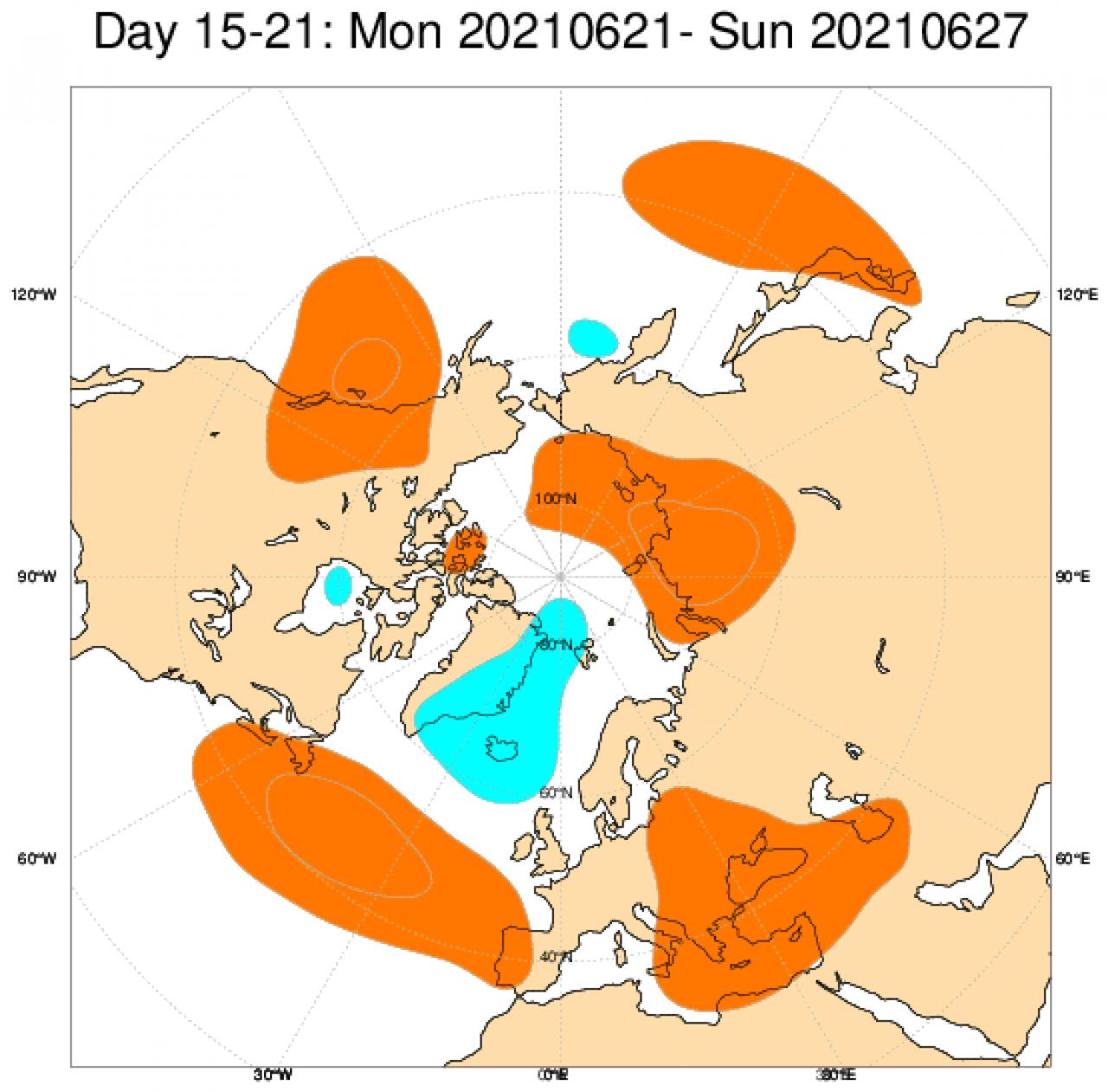 Tendenza meteo tra il 21 e il 27 giugno secondo il modello ECMWF