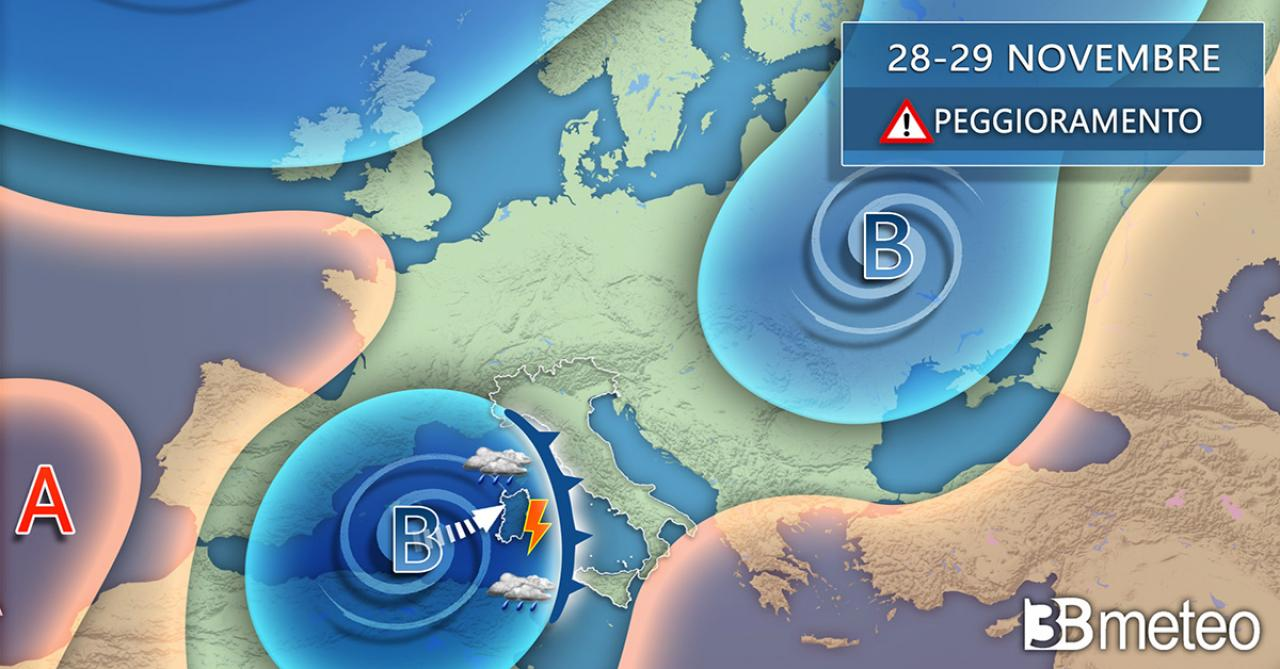 Tendenza meteo weekend 28/29 novembre