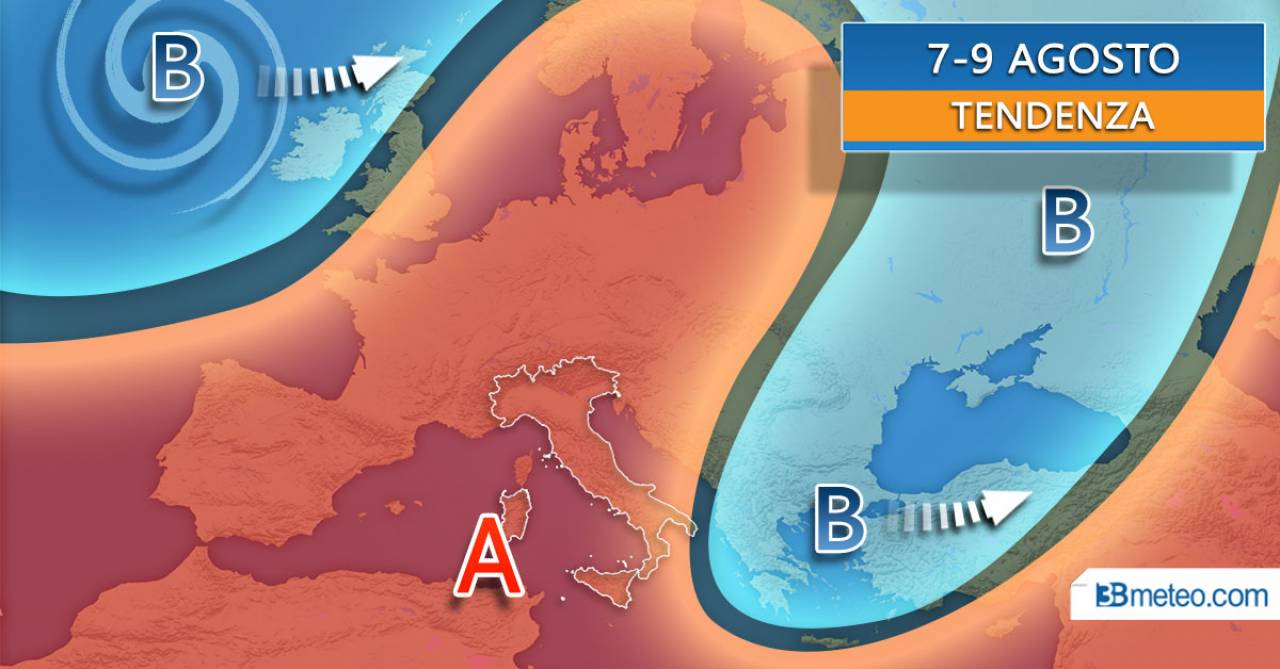 Tendenza meteo weekend 7-9 agosto