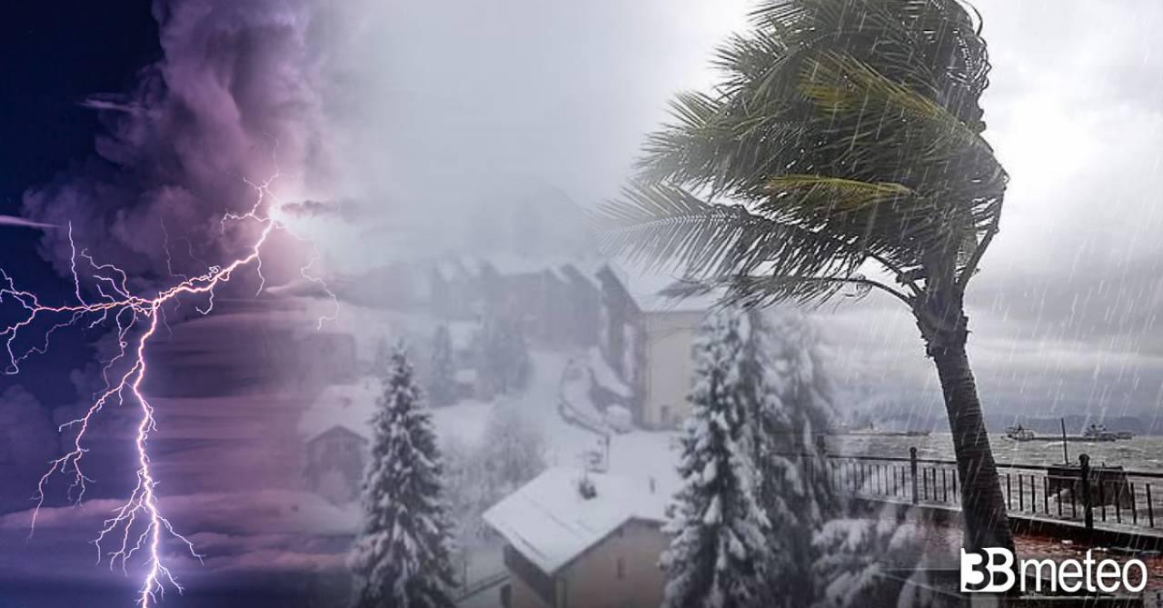 Torna il maltempo attese piogge, venti forti e abbondanti e abbondanti nevicate sulle Alpi