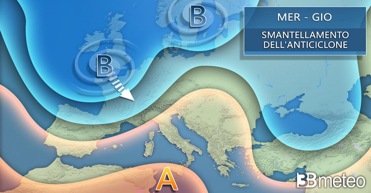 Tra mercoledì e giovedì cede l'anticiclone sul Centro Europa