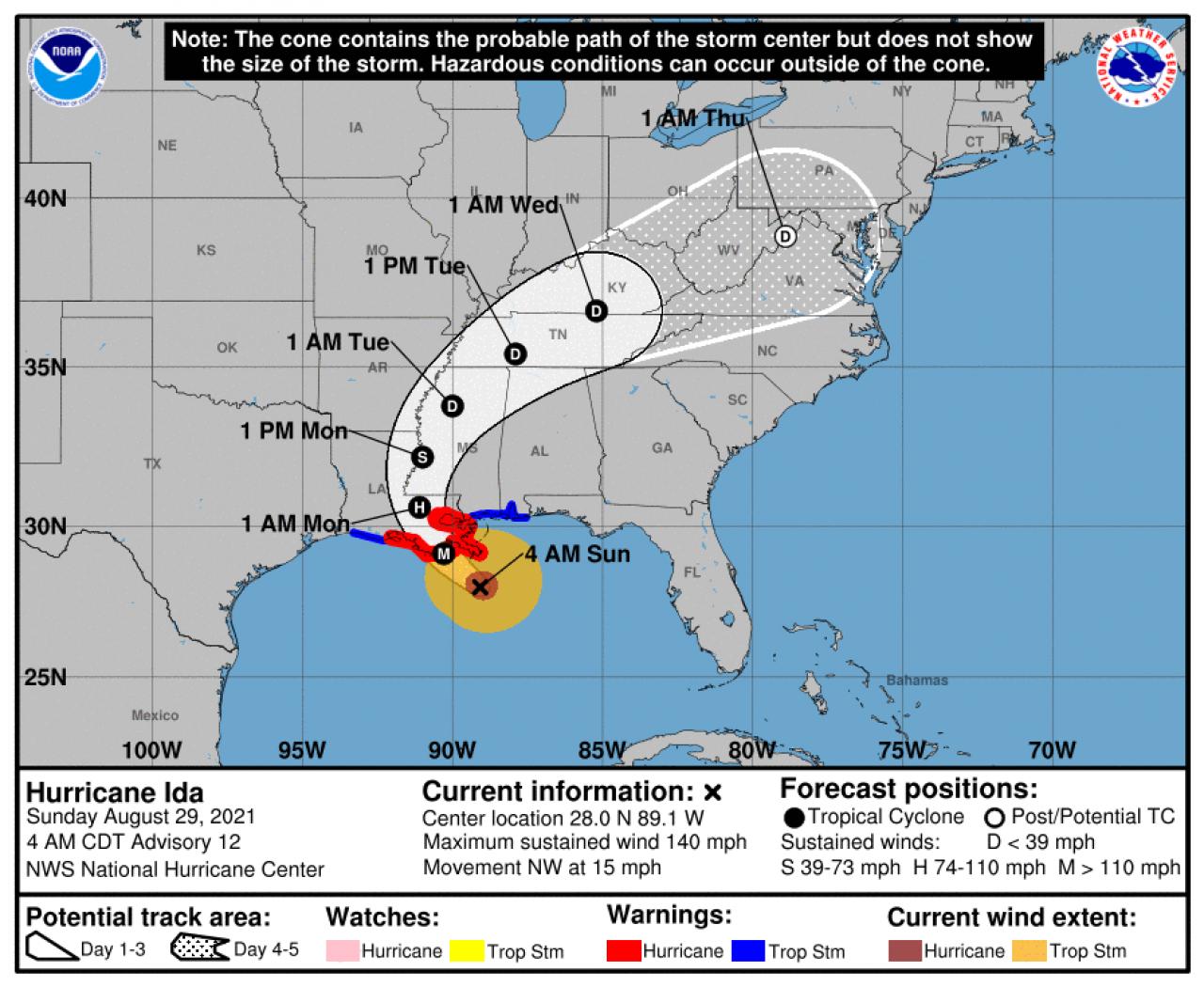 Traiettoria prevista di Ida. fonte : NOAA