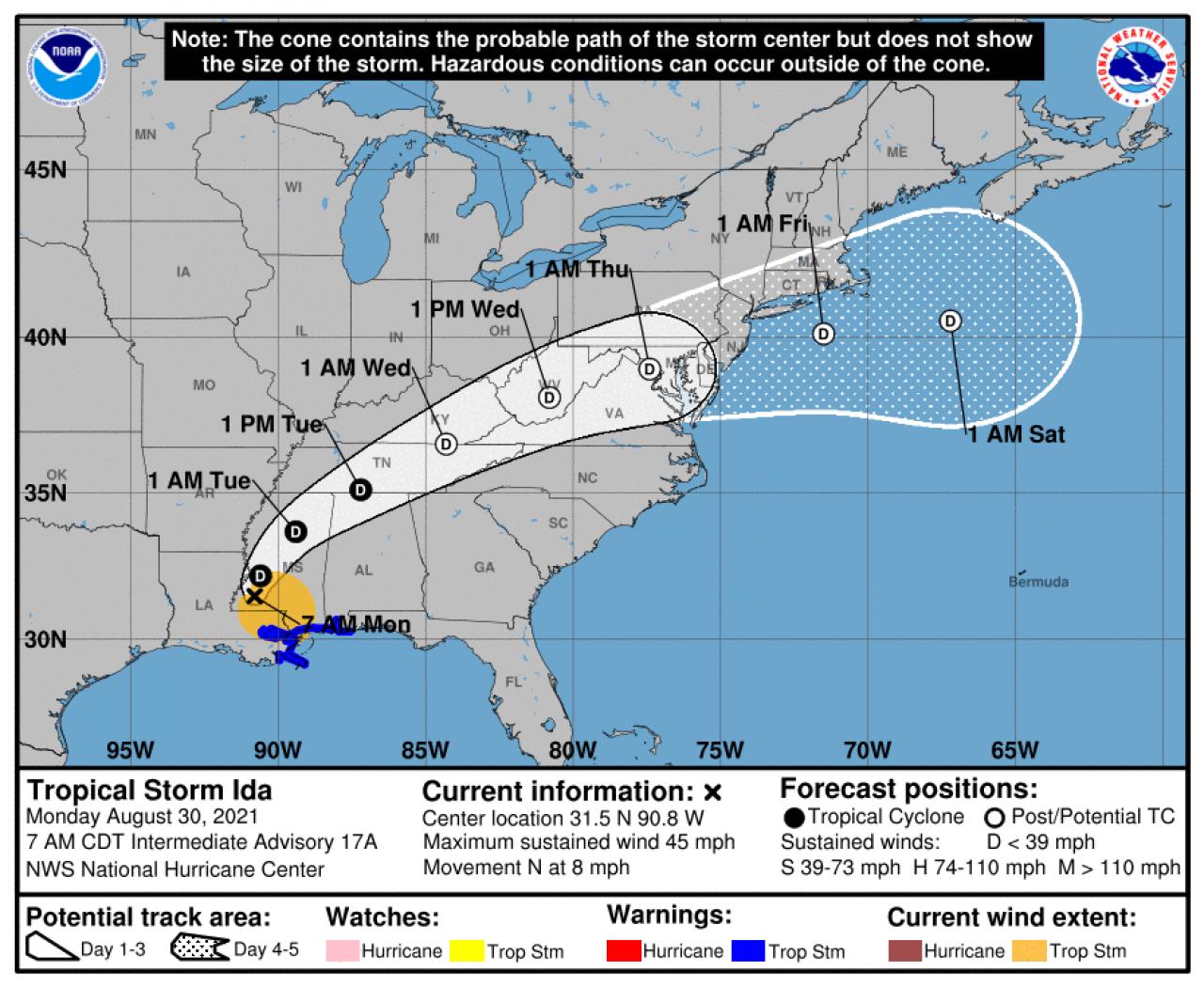 Traiettoria prevista - fonte :NOAA