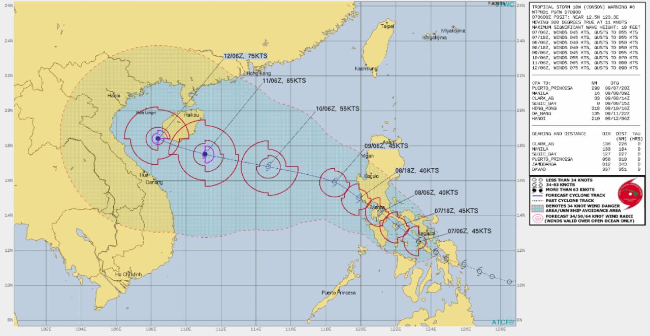 Traiettoria Tempesta Tropicale Conson