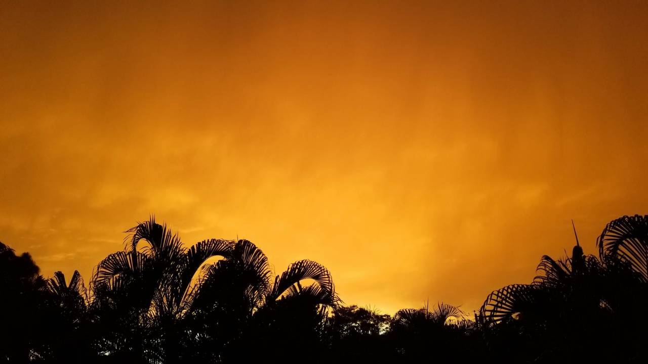 Tramonto a Miami avvolta dalla sabbia sahariana (Foto di Brian McNoldy via Twitter)