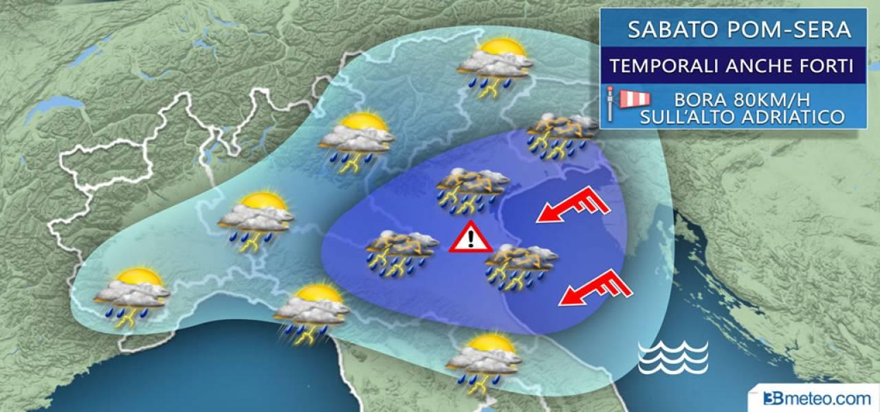 Transito di un fronte freddo nel corso di Sabato 11, foriero di temporali anche sull'Emilia.