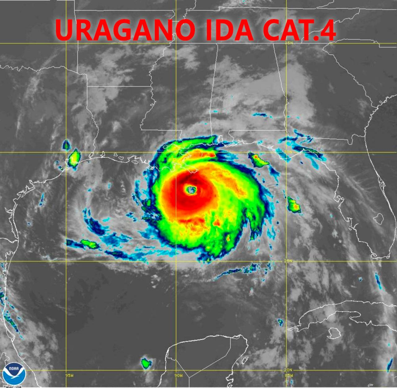 Uragano Ida visto dal Satellite