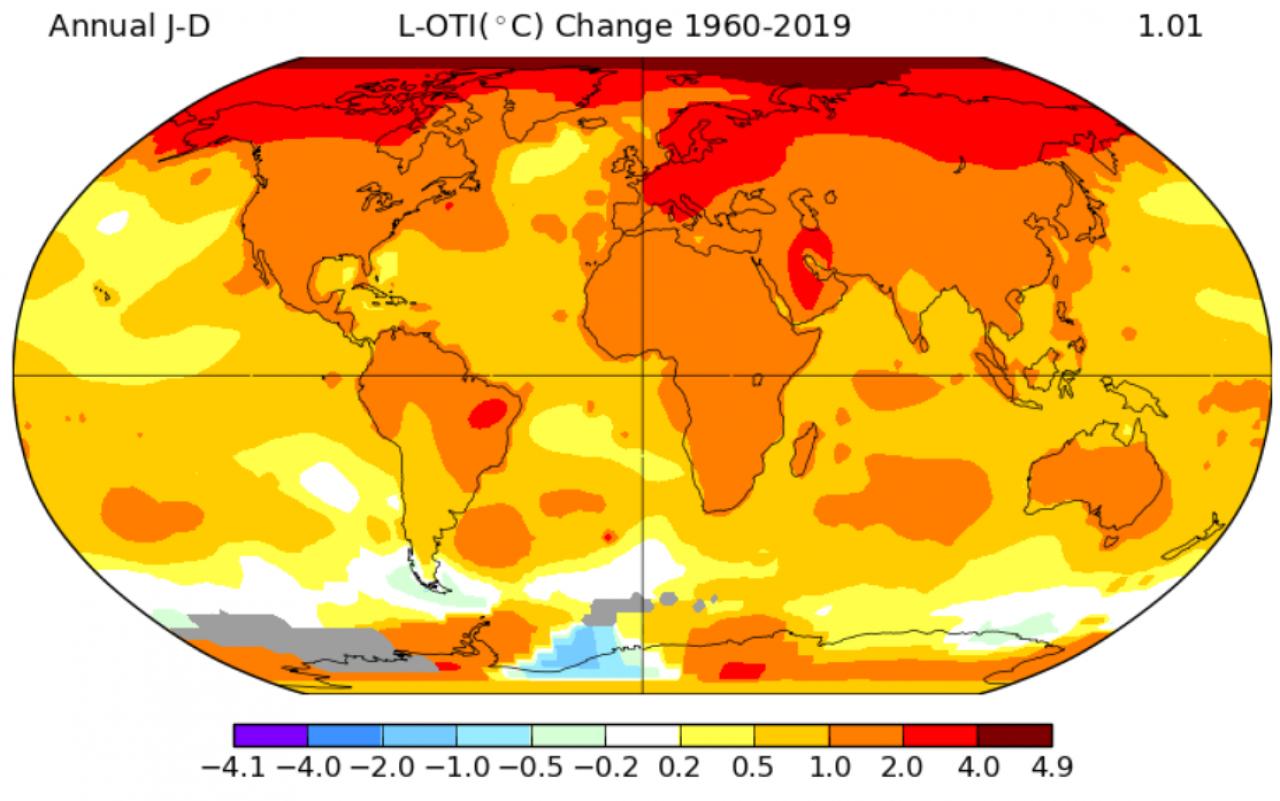 Variazione della temperatura media annua fra il 1960 e il 2019, fonte: NSDIC