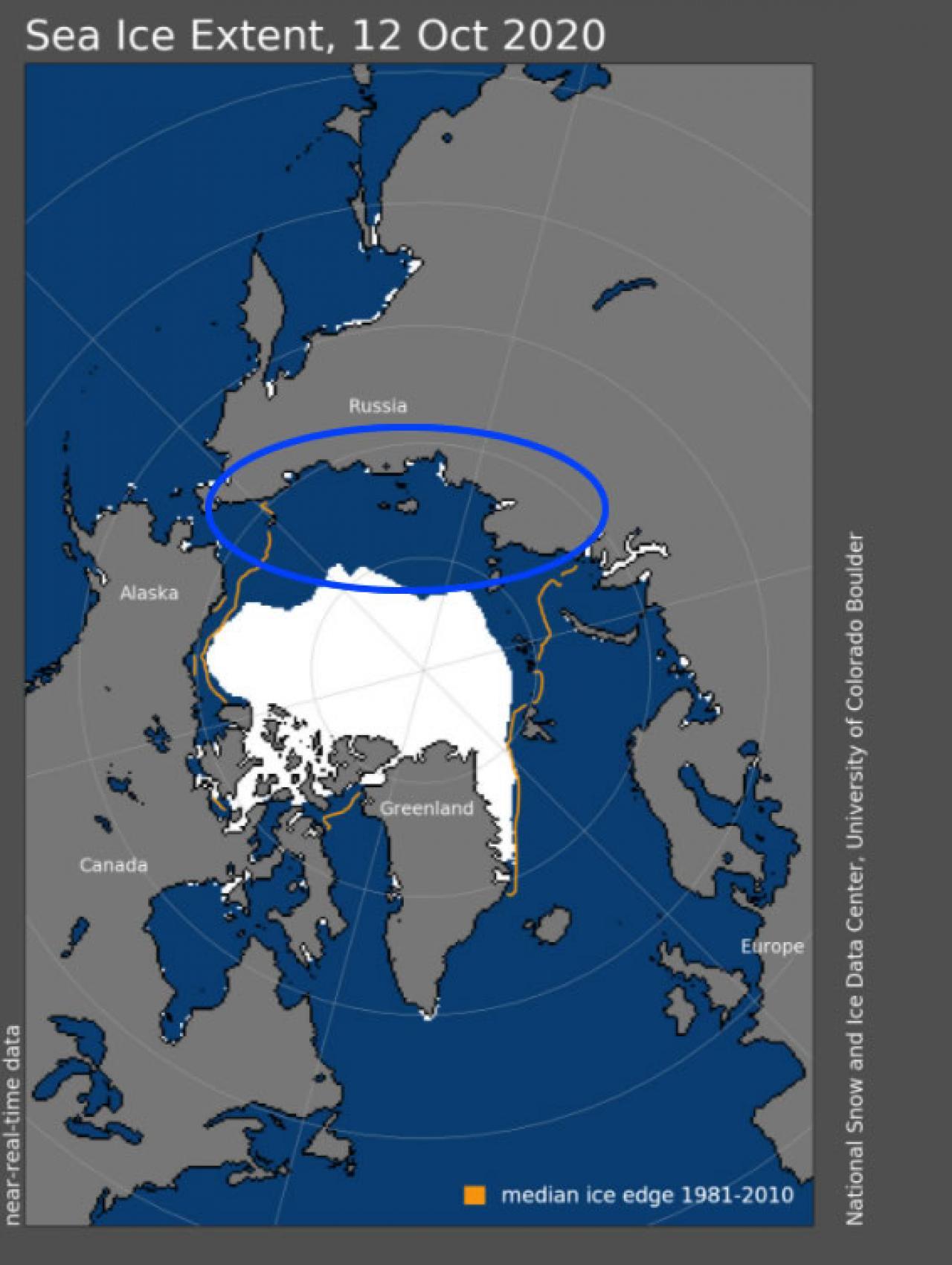 vaste zone dell'artico libere dal ghiaccio