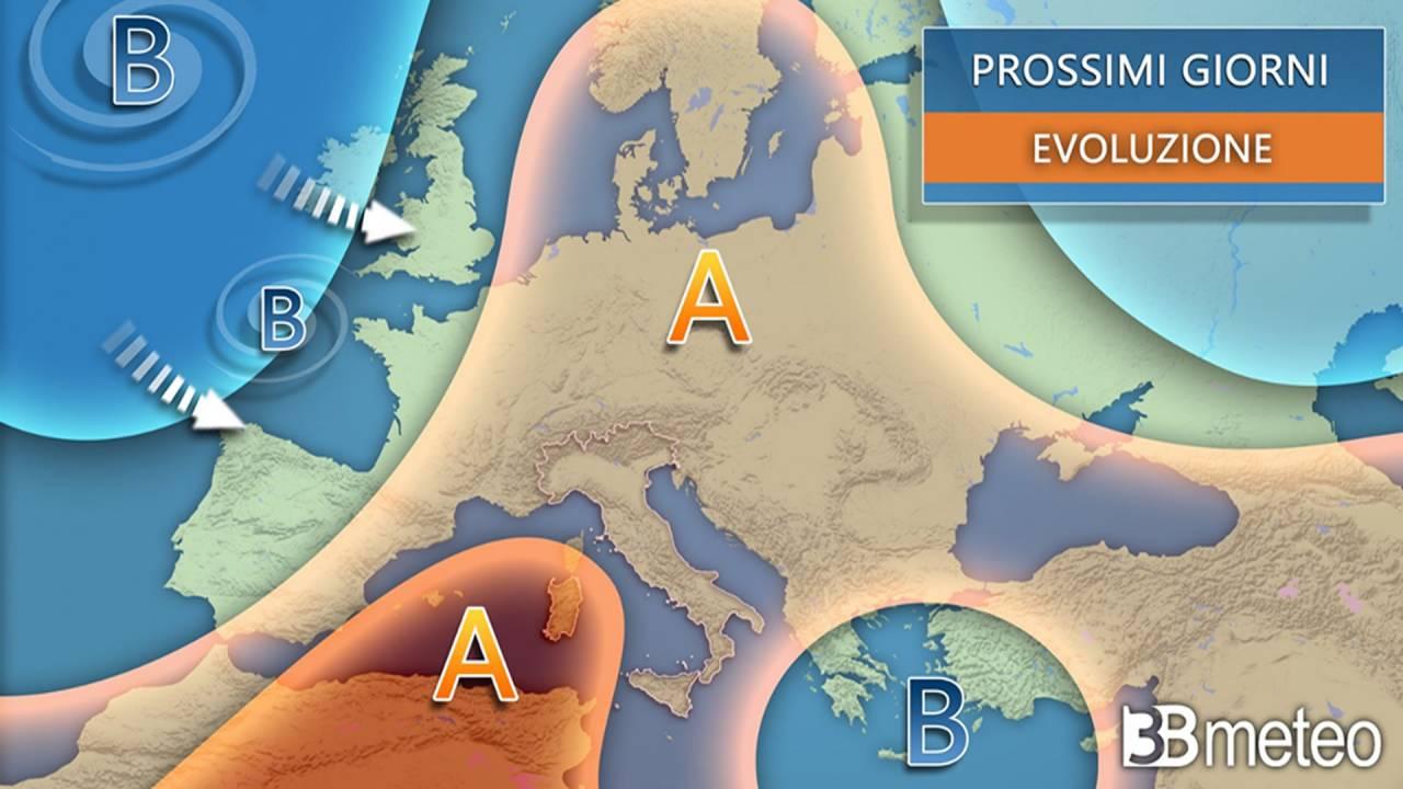 vasto anticiclone in Europa