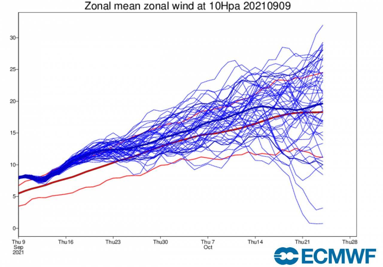 velocità zonale a 10 hPa secondo Ecmwf