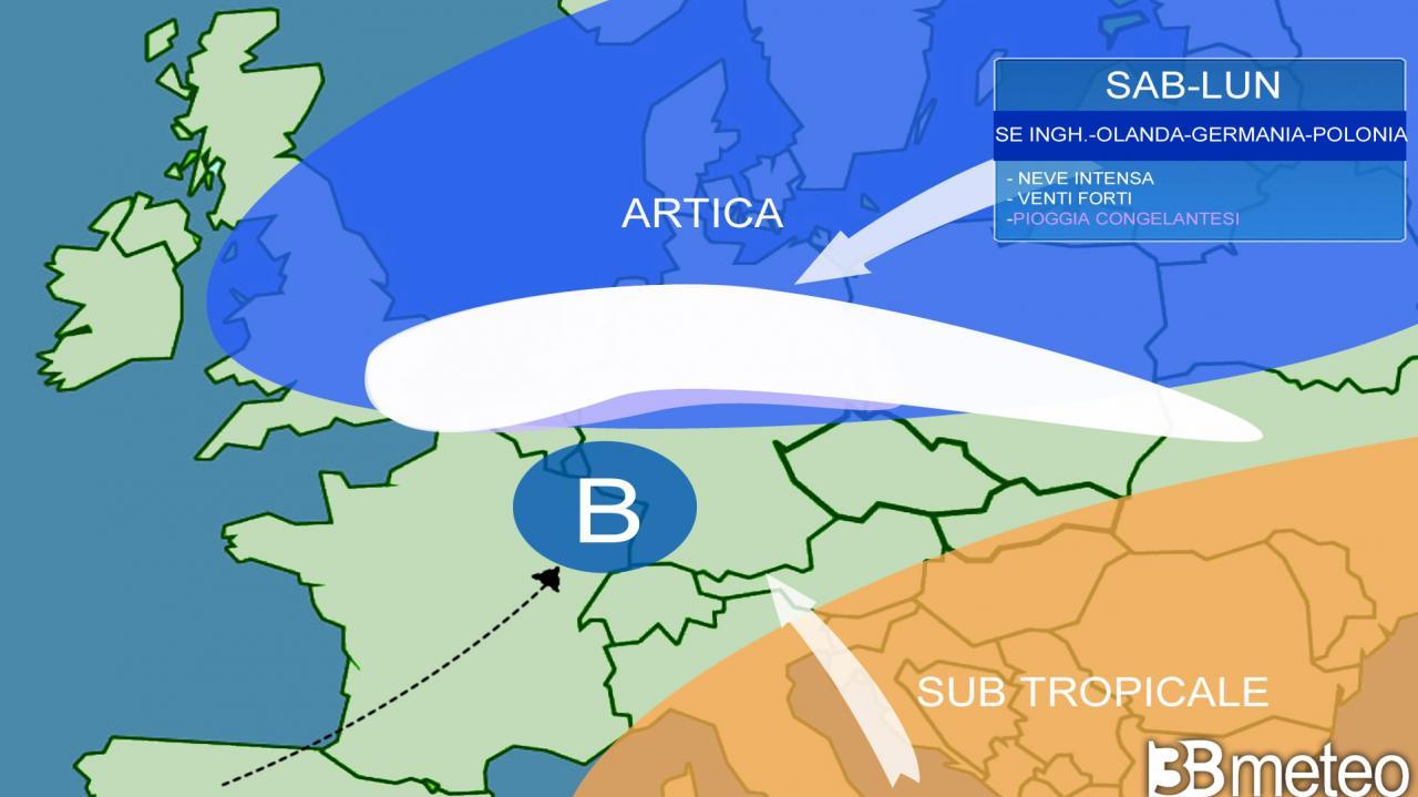 vere e proprie bufere di neve attese sulla Mitteleuropa